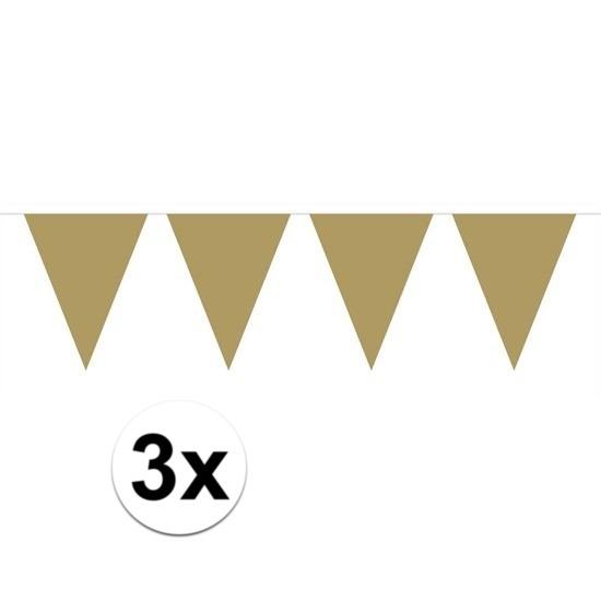 3x Mini vlaggenlijn - slinger goud 300 cm