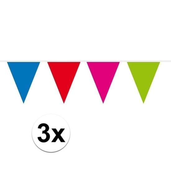 3x Mini vlaggenlijn - slinger multi colour 300 cm