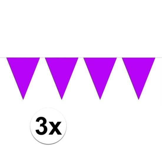 3x Mini vlaggenlijn - slinger paars 300 cm