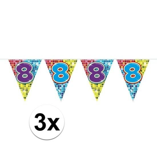 3x Mini vlaggenlijn - slinger verjaardag versiering 8 jaar