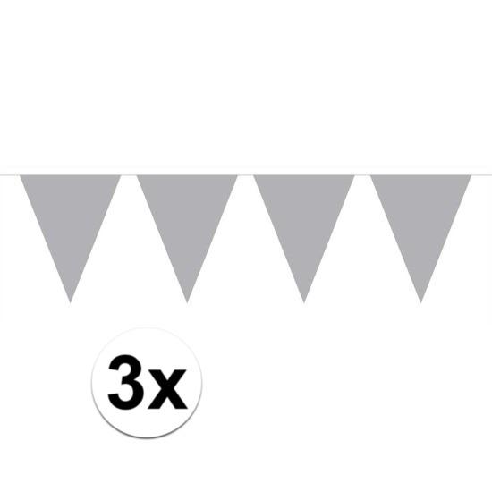 3x Mini vlaggenlijn - slinger zilver 300 cm