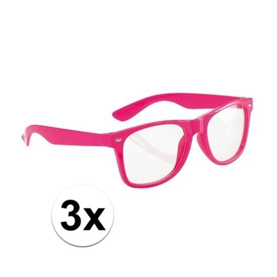 3x Neon brillen roze voor volwassenen