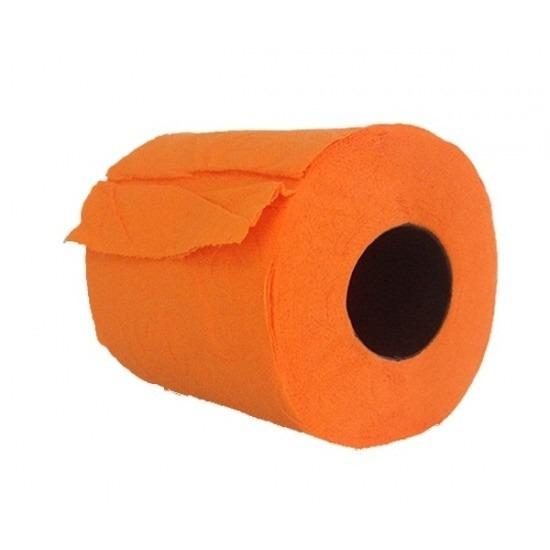 3x Oranje toiletpapier rollen 140 vellen