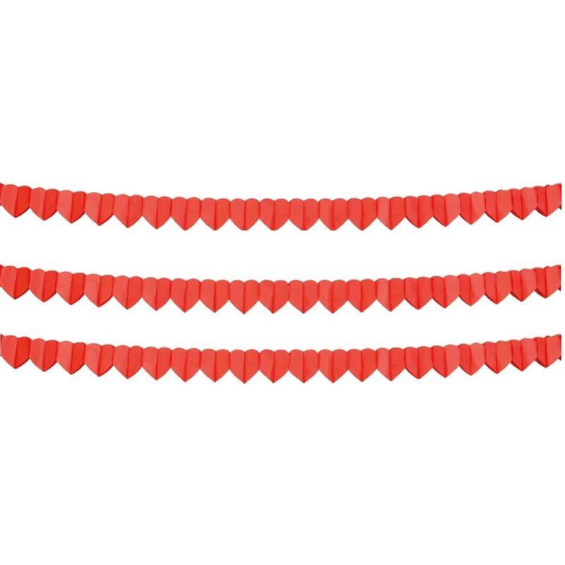 3x Rode hartjes slinger 4 meter