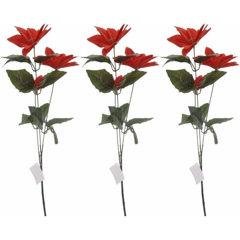 3x Rode Kerstster bloem 66 cm