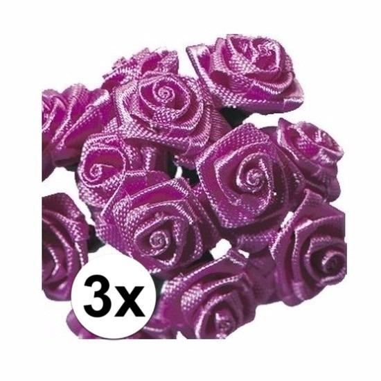 3x Roze roosjes van satijn 12 cm