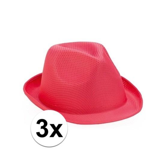 3x Roze trilby hoedjes voor volwassenen