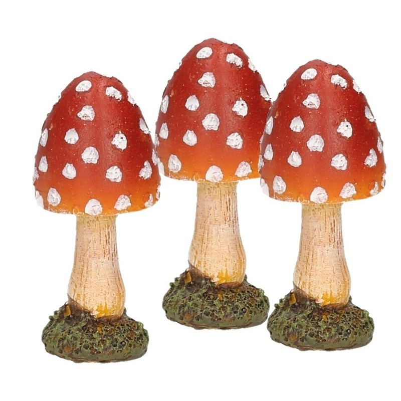 3x stuks decoratie paddenstoelen vliegenzwammen 8 cm