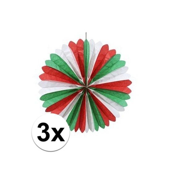 3x stuks decoratie waaiers rood/wit/groen