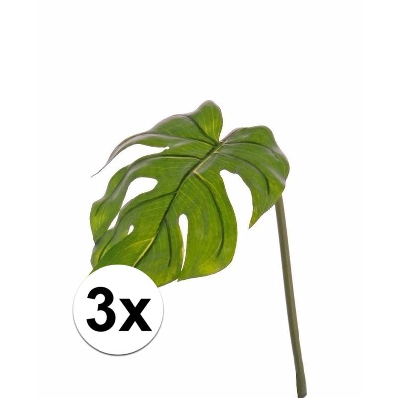 3x stuks kunstplant Monstera bladgroen takken 55 cm