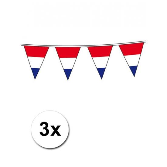 3x stuks Vlaggenlijnen Holland rood wit blauw