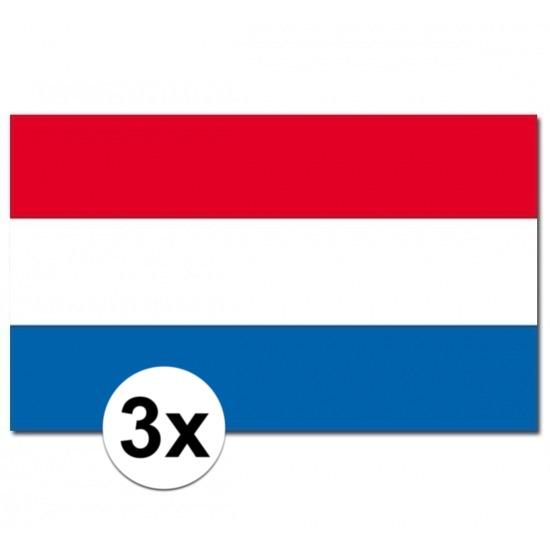 3x Vlaggen Nederland 90 x 150 cm