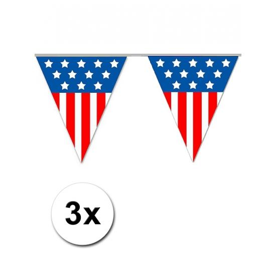 3x Vlaggenlijn USA 5 meter