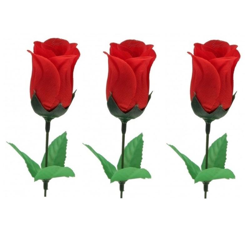 3x Voordelige rode roos kunstbloemen 28 cm