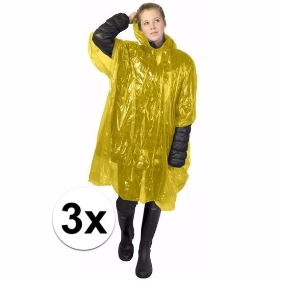 3x wegwerp regenponcho geel