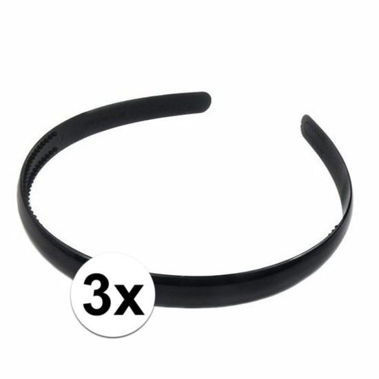 3x Zwarte dames diadeem/haarband