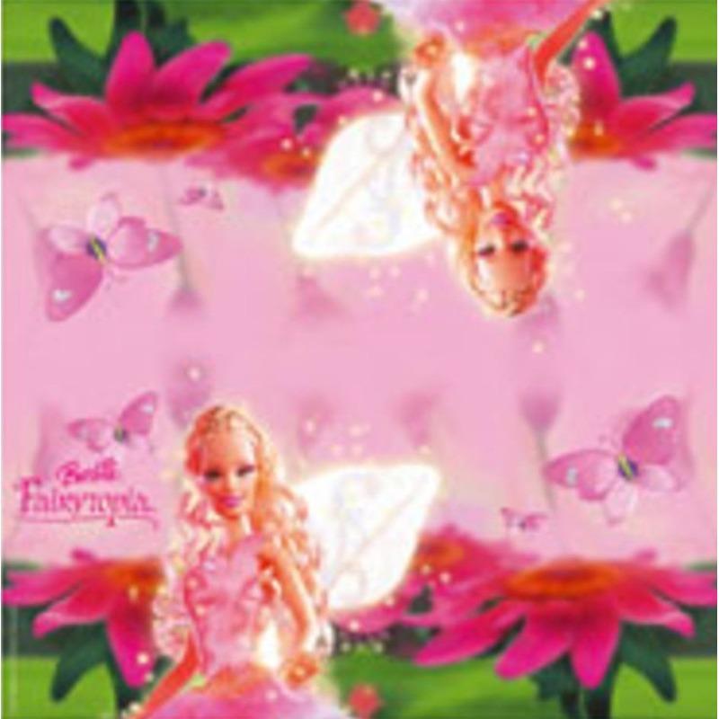 40x Barbie themafeest servetten roze 33 x 33 cm papier