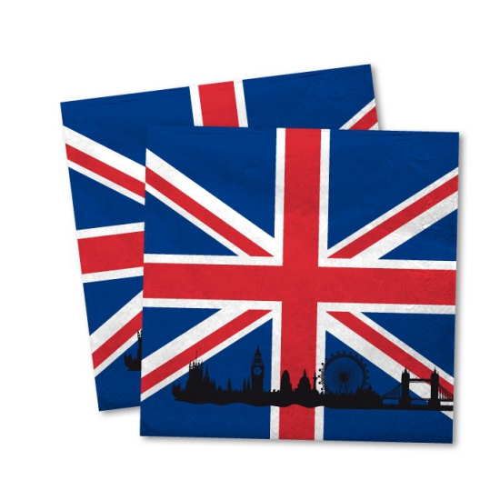 40x Engeland vlag servetten 33 x 33 cm