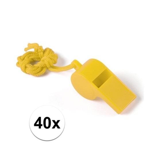 40x Geel fluitje aan koord