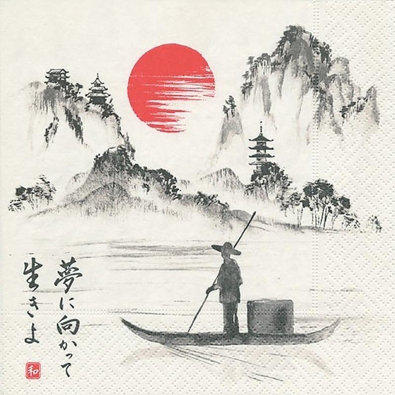 40x Japan thema servetten 33 x 33 cm