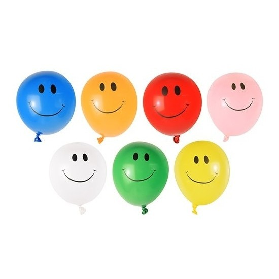 40x Smiley waterballonnen gekleurd