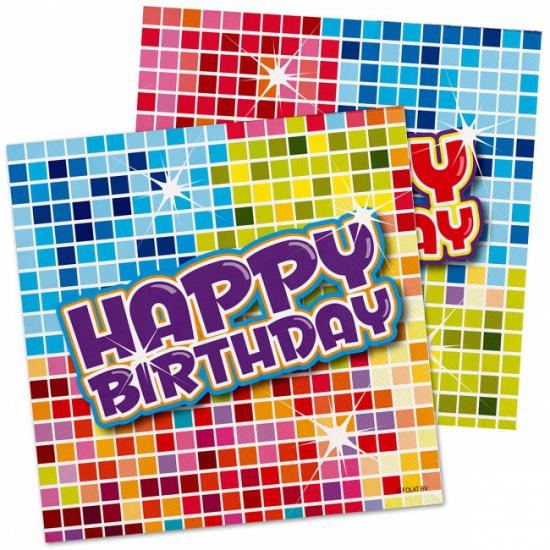 48x Happy birthday themafeest servetten 25 x 25 cm