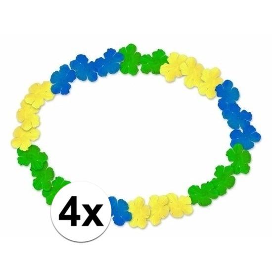4x Braziliaanse Hawaii kransen blauw-geel-groen