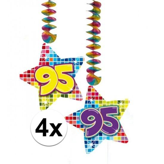 4x Hangdecoratie sterren 95 jaar