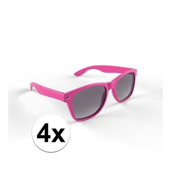 4x Hippe roze zonnebrillen voor volwassenen
