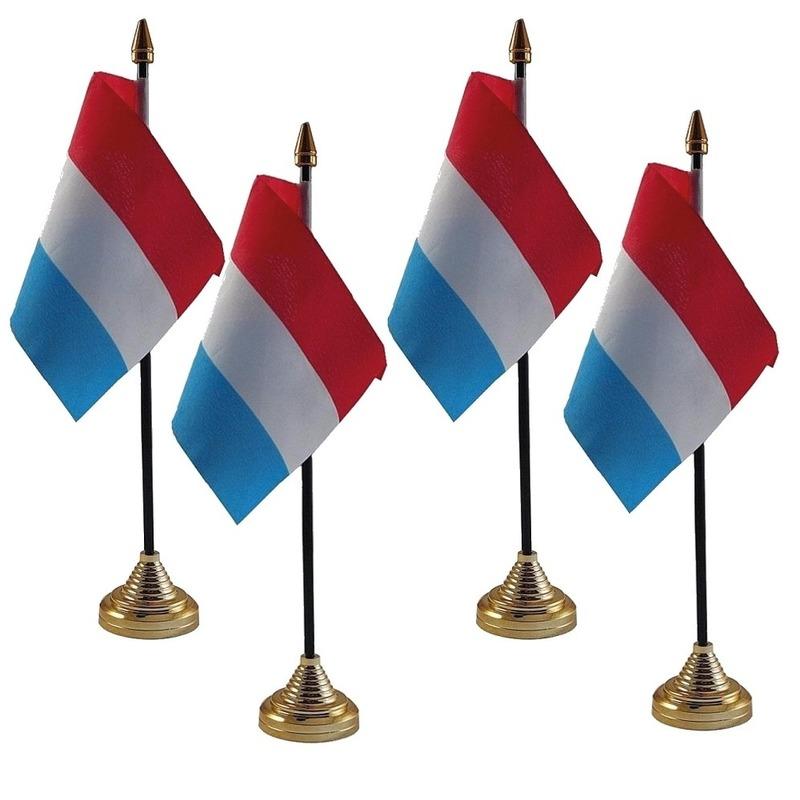 4x Nederland tafelvlaggetjes 10 x 15 cm met standaard