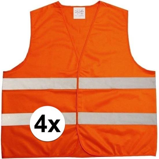 4x Oranje veiligheidsvesten voor volwassenen