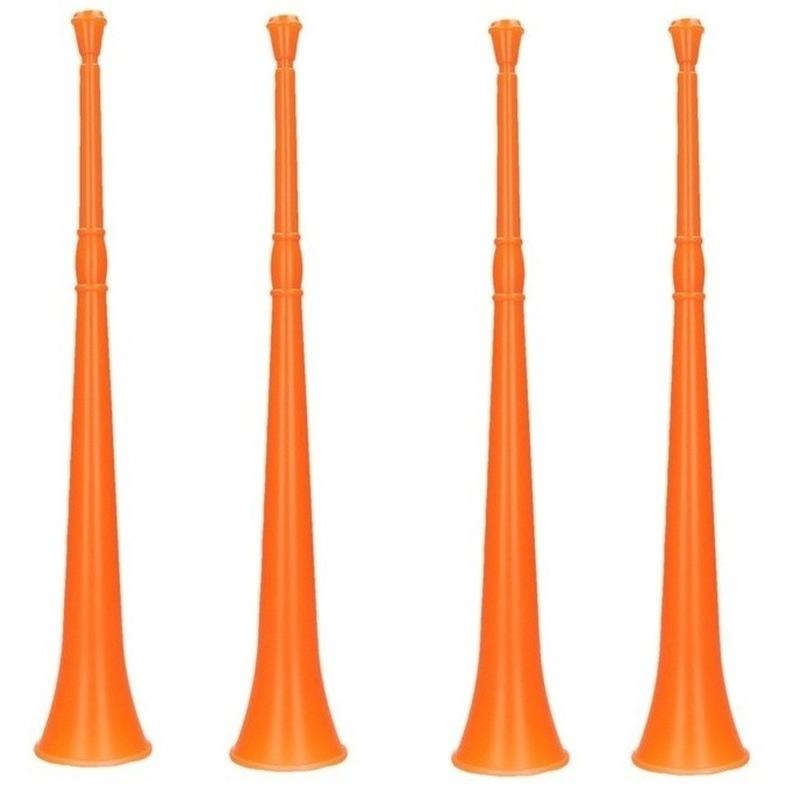 4x Oranje vuvuzela grote blaastoeters 48 cm