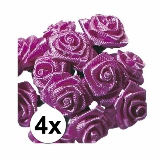 4x Roze roosjes van satijn 12 cm