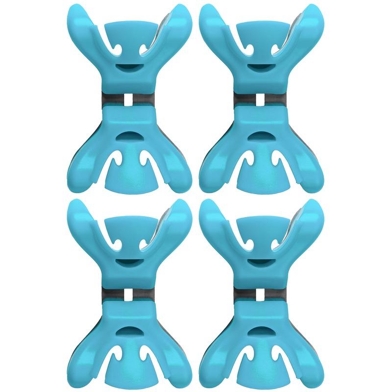 4x Slingers/decoratie ophangen slingerklemmen blauw