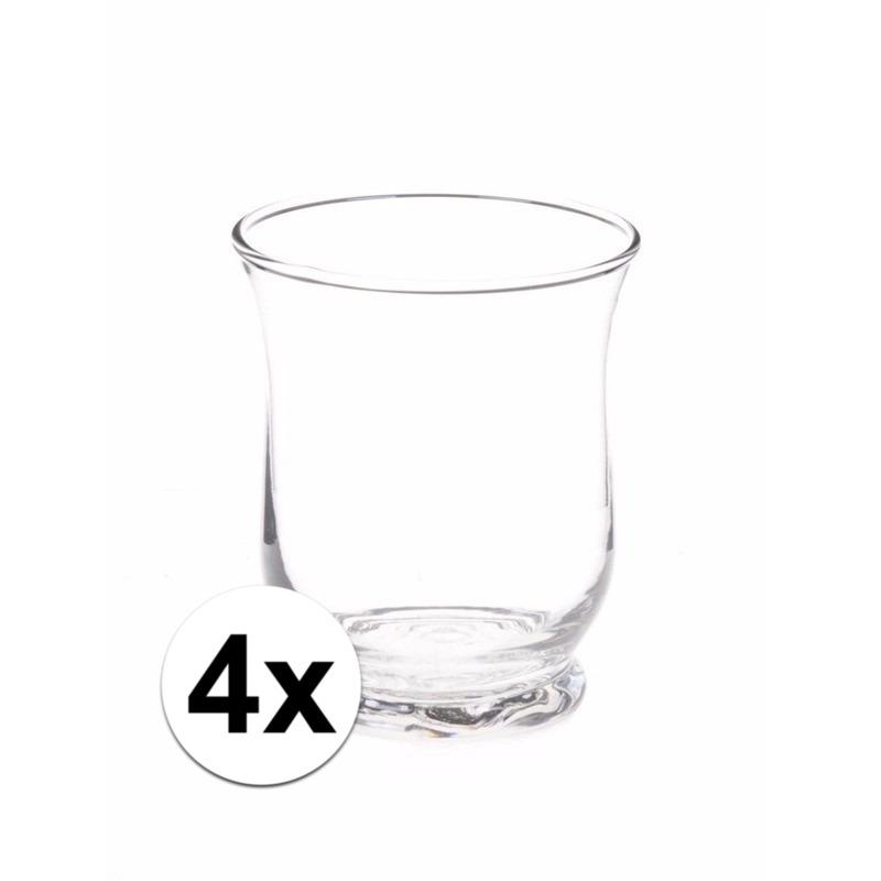 4x Theelichthouders transparant 11 cm