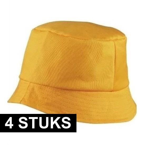 4x Vissershoedjes/zonnehoedjes goudgeel voor volwassenen
