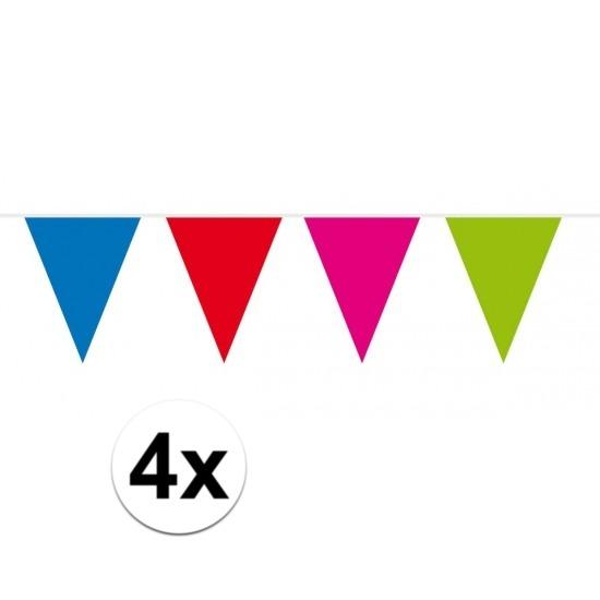 4x vlaggenlijn - slinger XXL meerkleurig 10 meter
