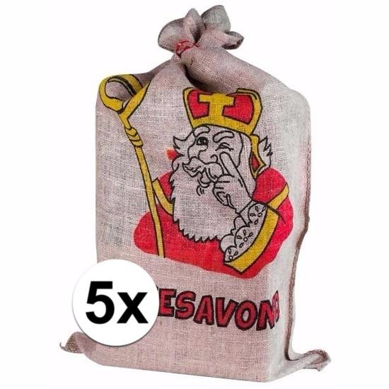 5 Jute zakken van Sinterklaas 60 x 102 cm