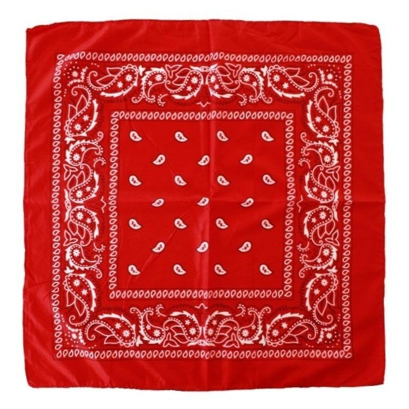 5 stuks voordelige rode boeren zakdoek 53 x 53 cm