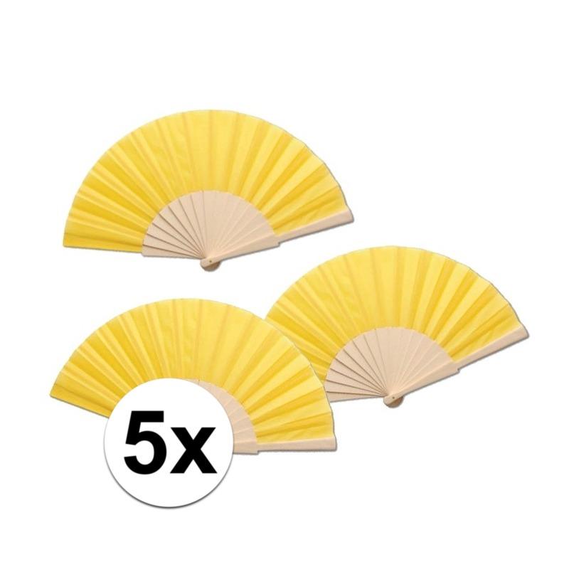 5 stuks zomerse Spaanse waaiers geel