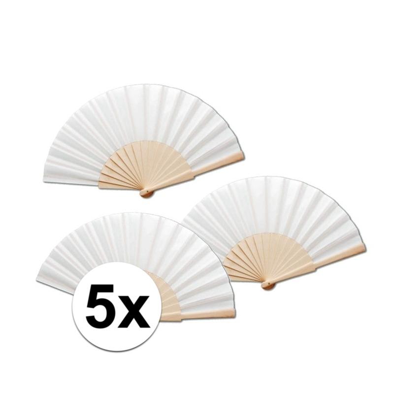 5 stuks zomerse Spaanse waaiers wit