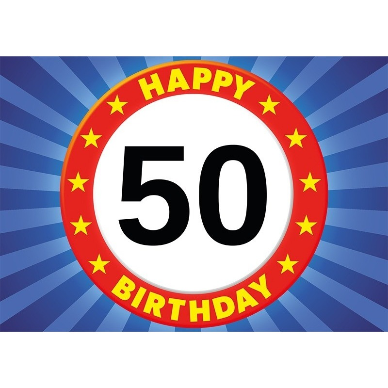 50 jaar verjaardagskaart/ansichtkaart/wenskaart Happy Birthday