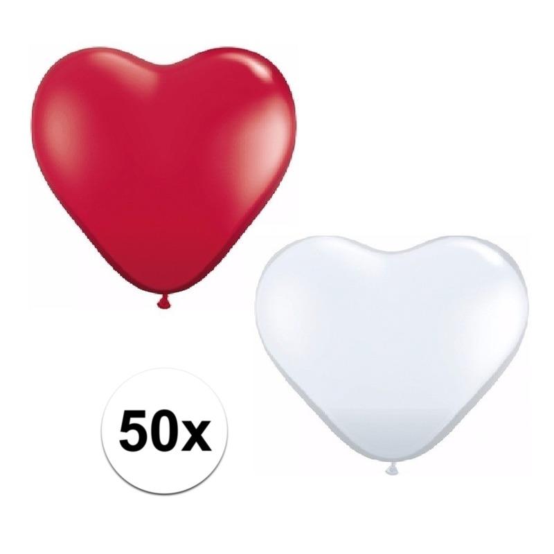 50x bruiloft ballonnen wit - rood hartjes versiering