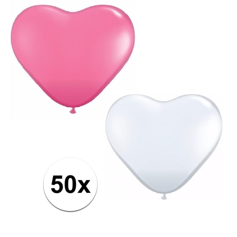 50x bruiloft ballonnen wit - roze hartjes versiering