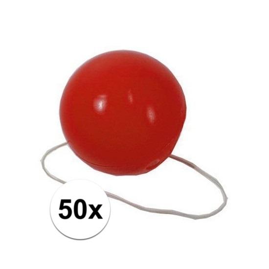 50x Voordelige rode clowns neuzen