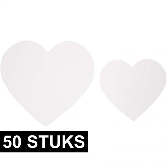 50x Witte decoratie hartjes van karton