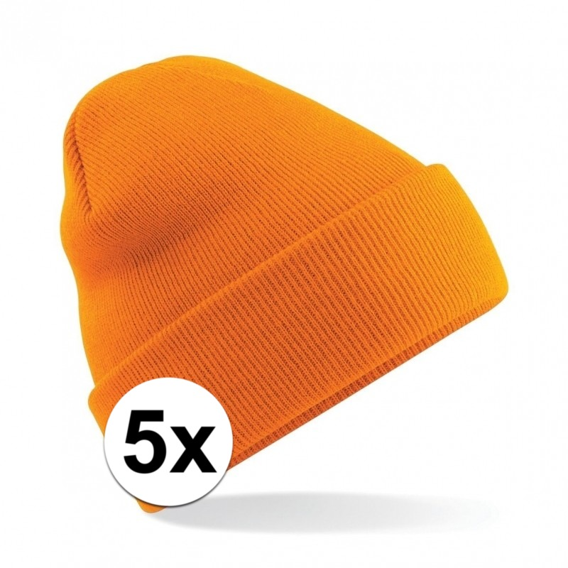 5x Basic winter muts oranje