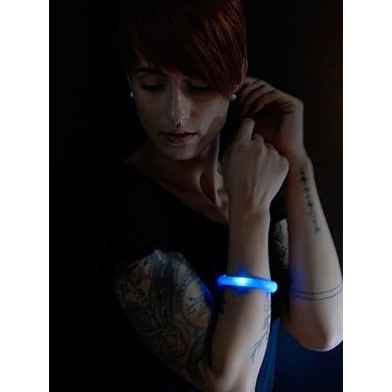 5x Blauwe LED licht wikkel armbanden voor volwassenen