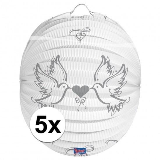 5x Bruidspaar lampionnen 22 cm
