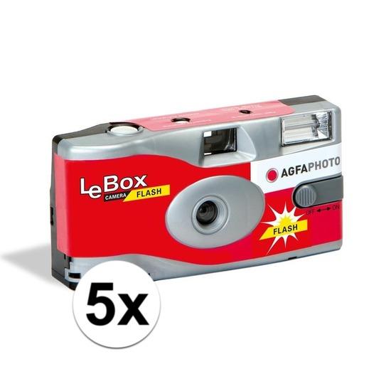 5x Bruiloft/vrijgezellenfeest wegwerp camera 27 fotos met flits